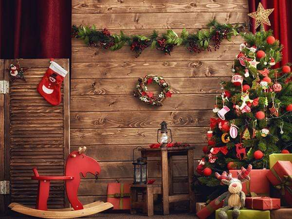Christmas wood Zoom background